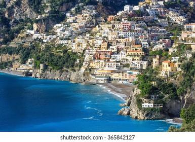 Positano village coast view  on rocky hill. Amalfi, Italy. January 2015.