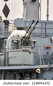 Position of anti-aircraft machine guns on a warship