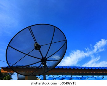 Position of installation of a satellite dish on the roof eaves.