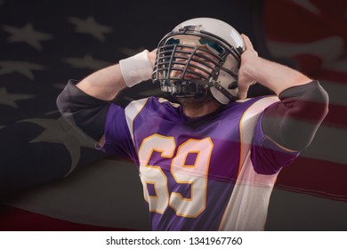 Positive American Football Player hold his head by hands with US flag on background