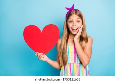 Positive astonished kid girl get big red paper card heart 14-february date holiday impressed scream wow touch hands face wear stylish trendy dress skirt isolated blue color background