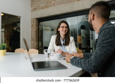Positive atmosphere at a job interview
