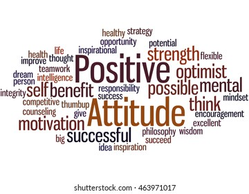 Positive Attitude, word cloud concept on white background.