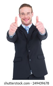 Positive businessman smiling with thumbs up on white background