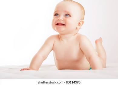 positive child on white fabric