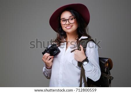 Positive Female Tourist Photo Camera Travel Stock Photo (Edit Now ... ef82f2bb8d88