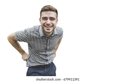 Positive guy wearing elegant casual shirt looking cheerfully into camera isolated over white background. Young white-skinned male with smile dressed elegantly