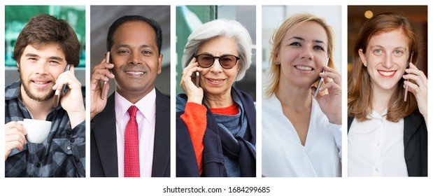 Positive happy men and women speaking on cellphone portrait set. People of different races and ages with mobile phone multiple shot collage. Communication concept