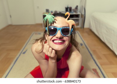 Positive happy smiling beautiful woman summer tropical sunglasses vacations concept