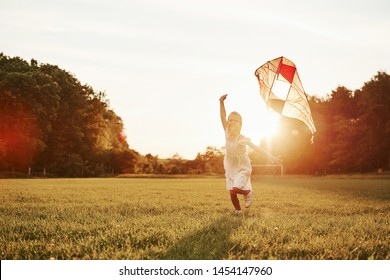 Positive kid. Happy girl in white clothes have fun with kite in the field. Beautiful nature.