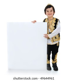 Positive kid with white banner for your text or picture