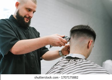 Positive male hairdresser cuts client's hair with clipper in his hand, smiles against white wall background, focus on hands of master. Cheerful barber creates a fashionable hairstyle for the client.