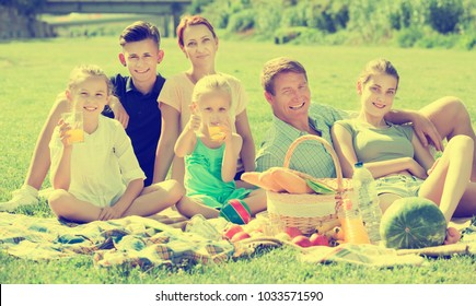 Positive man and woman with four kids having picnic together on green meadow in park