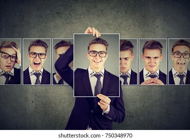 Positive masked man in glasses expressing different emotions
