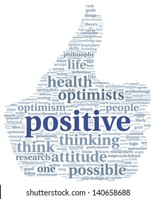 Positive and mindset concept in word tag cloud