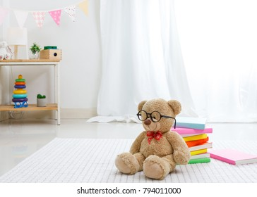 Positive minimalist and colorful room for kids and teenagers, Educational concept for school kids