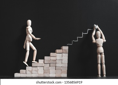Positive motivation. Encouragement and support. Career growth and coaching. Conceptual articulated mannequin composition.