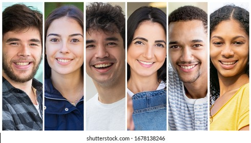 Positive multicultural student girls and guys portrait set. Happy young diverse men and women in casual multiple shot collage. Positive human emotions concept