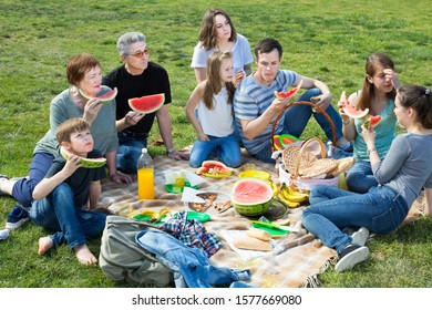 Positive people of different ages sitting and talking on picnic