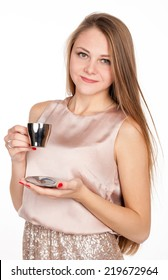 Positive pretty blonde with cup of coffee on white background