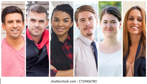 Positive successful young and middle aged entrepreneurs portrait set. Smiling men and women of different races and ages multiple shot collage. Positive human emotions concept