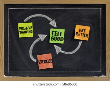 positive thinking, exercise, eat better - concept of feeling good, sticky notes and white chalk drawing on blackboard