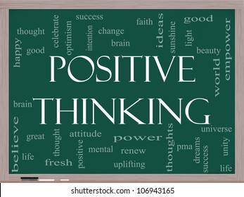 Positive Thinking Word Cloud Concept on a Blackboard with great terms such as good, mental, thought, life, optimism and more