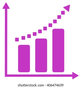 Positive Trend glyph toolbar icon. Style is flat icon symbol, violet color, white background, square dots.