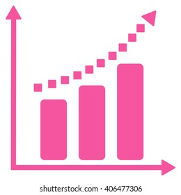Positive Trend glyph toolbar icon. Style is flat icon symbol, pink color, white background, square dots.