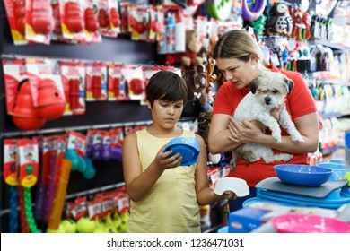 positive tweenager and his glad young mother looking for supplies for little dog in petshop