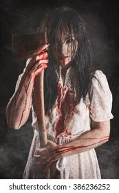Possessed girl with Bloody axe