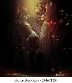 Possessed man with demons. Possessed man sitting on a chair with tall crimson and golden demons behind him illustration.