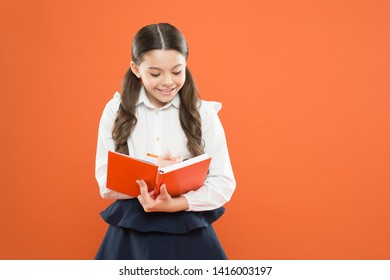 Possible everything. Schoolgirl enjoy study. Kid school uniform hold workbook. School lesson. Child doing homework. Your career path begins here. Inspiration for study. Back to school. Knowledge day.