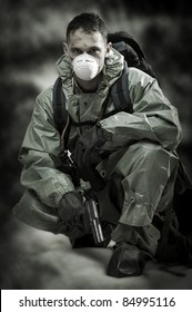 Post apocalypses world halloween concept. Portrait of man in gas mask