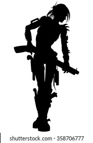 Post apocalyptic raider woman silhouette. Illustration armed woman with guns and other weapon