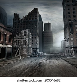 Post apocalyptic scene with a city street