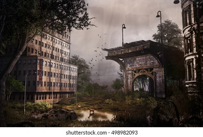 Post apocalyptic scenery with city building and ruined bridge.3D illustration.