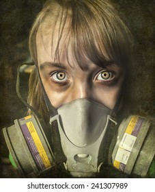 Post apocalyptic survivor - female child wearing gas mask, image is treated with a distressed patina