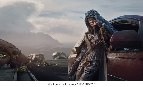 Post apocalyptyc image, brunette beauty posing with wrecked cars
