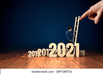 Post covid-19 era helping hand for business and economy concept. Government economic stimulus after covid-19. Businessman climb the ladder.