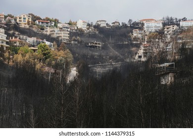 Post fire pictures at Mati, near Athens. A huge fire left more than 88 dead, dozens missing and thousands of destroyed properties. Mati, Attica - 28 July 2018