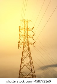 Post High voltage in the evening sunset