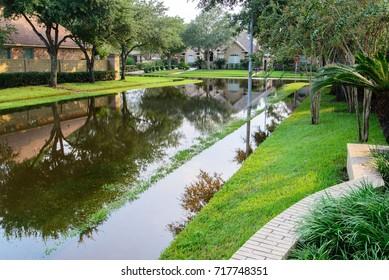 Post hurricane Harvey flooding in Houston, September 3, 2017, outdoor landscape
