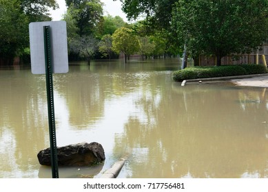 post hurricane Harvey neighborhood flooding in Houston, Texas.  Sept 3, 2017. Flood waters in neighborhoods