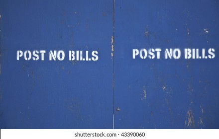 post no bills sign with empty space for text