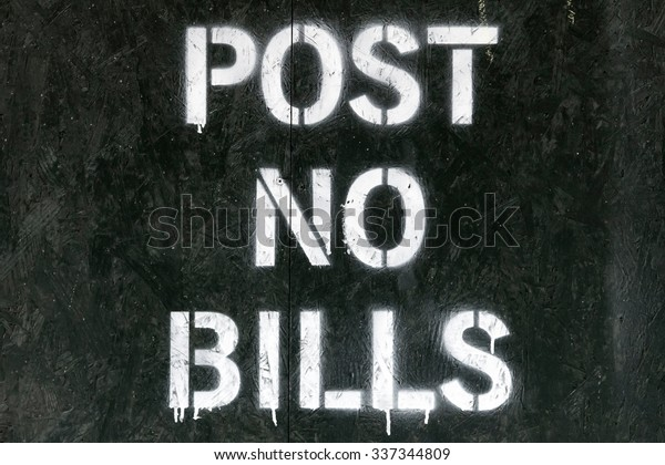 Post no bills spray painted sign in New York City