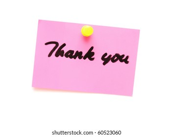 post it note with hand printed thank you isolated