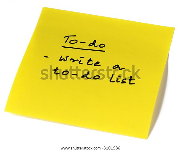 A Post it note with a procrastinating message