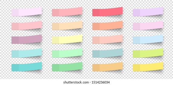 Post note stickers with shadow. Vector color paper sticky memos. Colorful school tags. Label sticker list - Shutterstock ID 1514236034