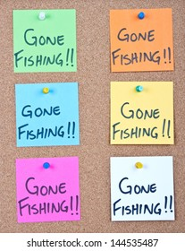 Post it notes on wood collage with gone fishing